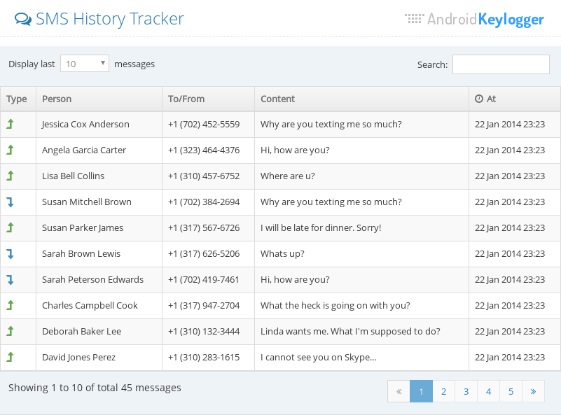 Tracking sms messages with the Sms Tracker feature of Android Keylogger