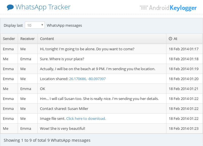 Tracking WhatsApp Messages with WhatsApp Spy feature of Android Keylogger